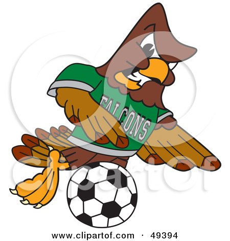 Royalty-Free (RF) Clipart Illustration of a Falcon Mascot Character Kicking a Soccer Ball by Toons4Biz