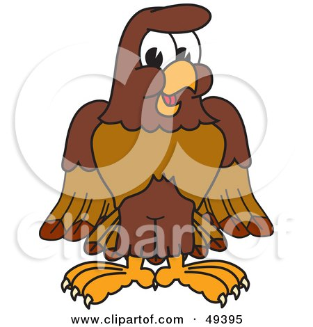 Royalty-Free (RF) Clipart Illustration of a Falcon Mascot Character by Toons4Biz