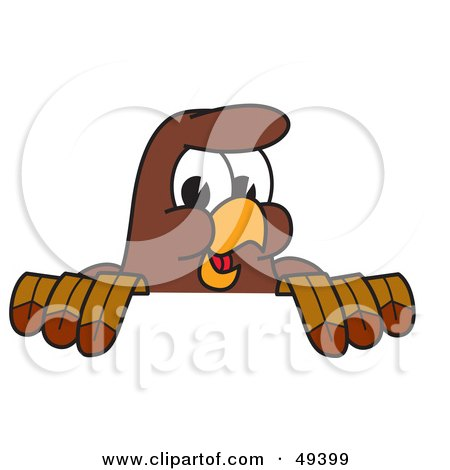 Royalty-Free (RF) Clipart Illustration of a Falcon Mascot Character Looking Over a Surface by Toons4Biz