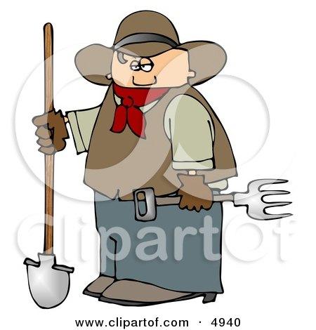 Cowboy Farmer Holding a Pitchfork & Shovel Posters, Art Prints