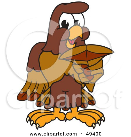 Royalty-Free (RF) Clipart Illustration of a Falcon Mascot Character Holding a Shark Tooth by Toons4Biz