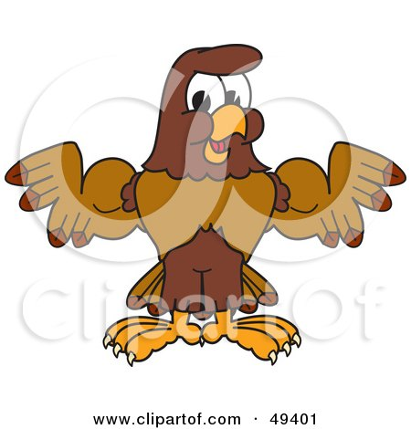 Royalty-Free (RF) Clipart Illustration of a Falcon Mascot Character Flexing His Big Muscles by Toons4Biz
