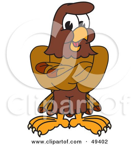 Royalty-Free (RF) Clipart Illustration of a Falcon Mascot Character With His Arms Crossed by Toons4Biz