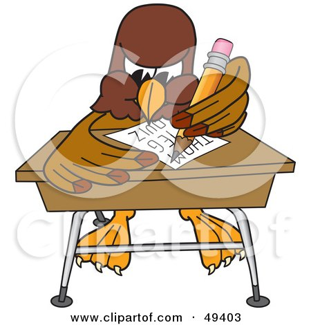Royalty-Free (RF) Clipart Illustration of a Falcon Mascot Character Taking a Quiz by Toons4Biz