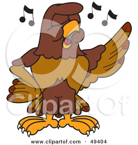 Royalty-Free (RF) Clipart Illustration of a Falcon Mascot Character Singing by Toons4Biz