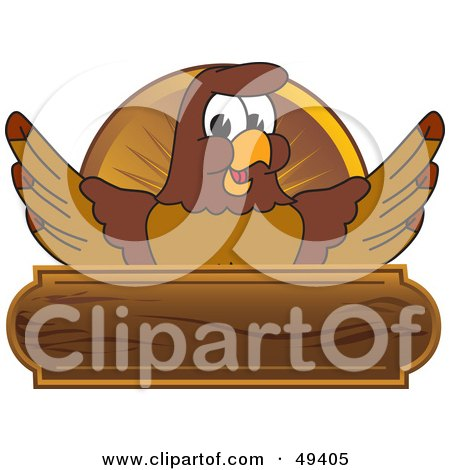 Royalty-Free (RF) Clipart Illustration of a Falcon Mascot Character Wooden Plaque by Toons4Biz