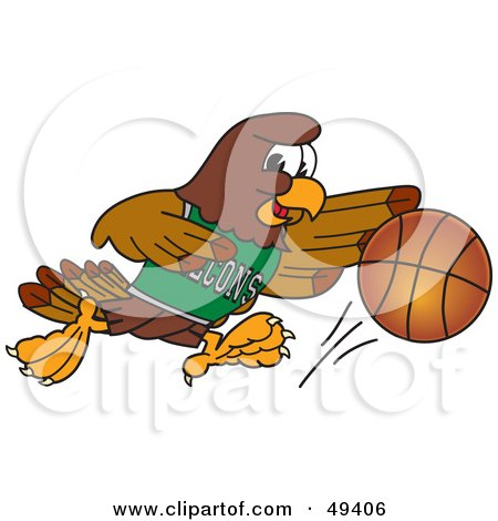 Royalty-Free (RF) Clipart Illustration of a Falcon Mascot Character Dribbling a Basketball by Toons4Biz