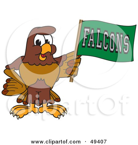 Royalty-Free (RF) Clipart Illustration of a Falcon Mascot Character Waving a Falcons Flag by Toons4Biz
