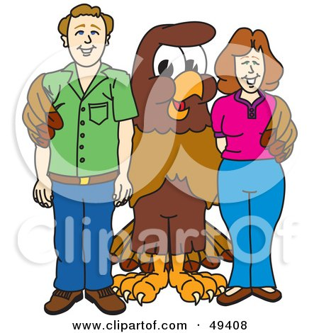 Royalty-Free (RF) Clipart Illustration of a Falcon Mascot Character With Adults by Toons4Biz