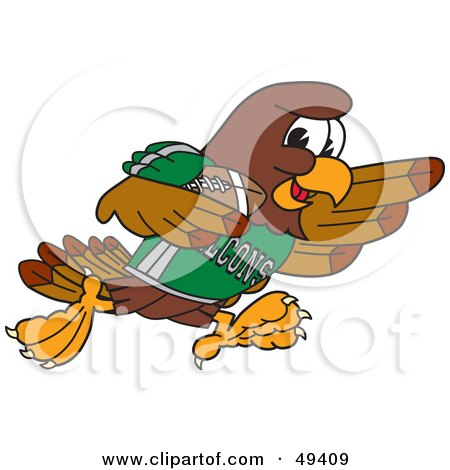 Royalty-Free (RF) Clipart Illustration of a Falcon Mascot Character Running With a Football by Toons4Biz