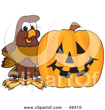 Royalty-Free (RF) Clipart Illustration of a Falcon Mascot Character With a Pumpkin by Toons4Biz