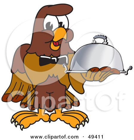 Royalty-Free (RF) Clipart Illustration of a Falcon Mascot Character Serving a Platter by Toons4Biz