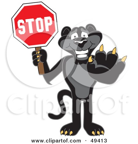 Royalty-Free (RF) Clipart Illustration of a Black Jaguar Mascot Character Holding a Stop Sign by Toons4Biz