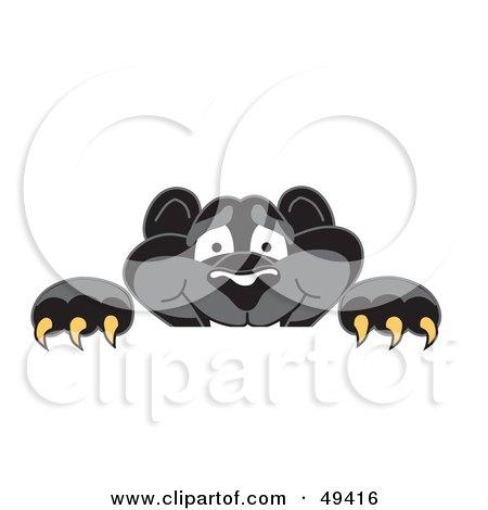 Black Jaguar Mascot Character Looking Over a Surface Posters, Art Prints