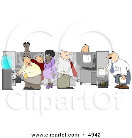 Caucasian and African American Office Employees Doing Their Daily Routine Clipart by djart