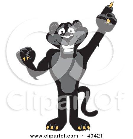 Black Jaguar Mascot Character Pointing Up Posters, Art Prints