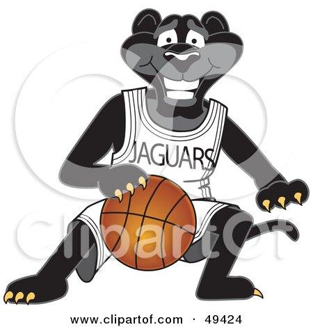 Royalty-Free (RF) Clipart Illustration of a Black Jaguar Mascot Character Dribbling a Basketball by Toons4Biz