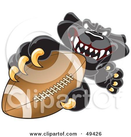 Black Jaguar Mascot Character Grabbing a Football Posters, Art Prints