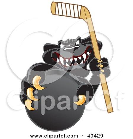 Black Jaguar Mascot Character Grabbing a Hockey Puck Posters, Art Prints