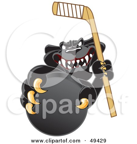 Royalty-Free (RF) Clipart Illustration of a Black Jaguar Mascot Character Grabbing a Hockey Puck by Toons4Biz