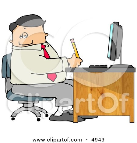 Business Man Filling out Paperwork at Wood Computer Desk in His Office Clipart by djart
