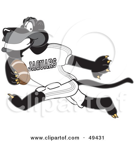Royalty-Free (RF) Clipart Illustration of a Black Jaguar Mascot Character Running With a Football by Toons4Biz