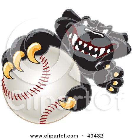 Royalty-Free (RF) Clipart Illustration of a Black Jaguar Mascot Character Grabbing a Baseball by Toons4Biz