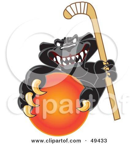 Royalty-Free (RF) Clipart Illustration of a Black Jaguar Mascot Character Grabbing a Field Hockey Ball by Toons4Biz