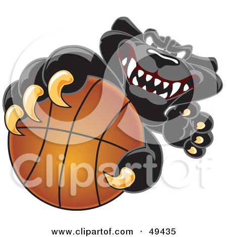 Royalty-Free (RF) Clipart Illustration of a Black Jaguar Mascot Character Grabbing a Basketball by Toons4Biz
