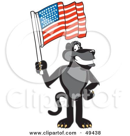 Royalty-Free (RF) Clipart Illustration of a Black Jaguar Mascot Character Waving an American Flag by Toons4Biz