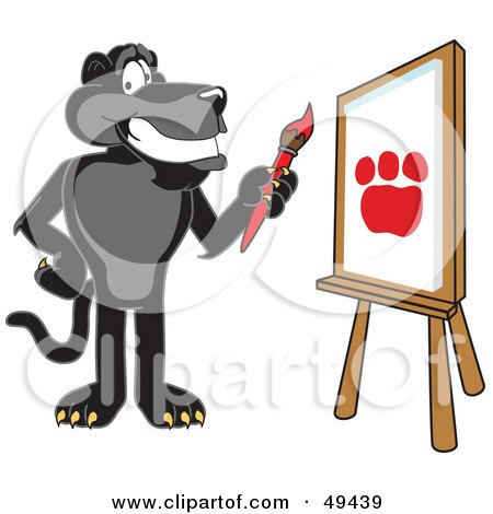 Royalty-Free (RF) Clipart Illustration of a Black Jaguar Mascot Character Painting by Toons4Biz