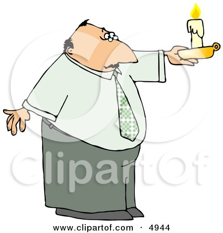 Business Man Holding a Lit Candle During a Power Outage Clipart by djart