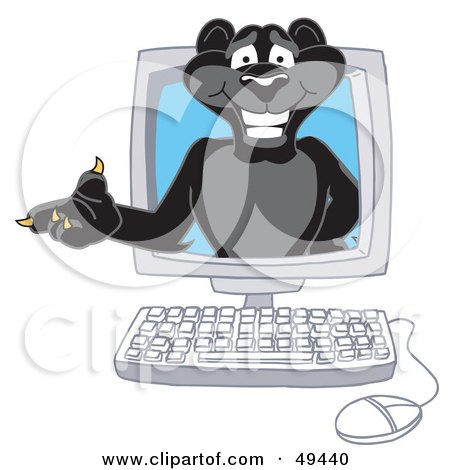 Royalty-Free (RF) Clipart Illustration of a Black Jaguar Mascot Character in a Computer by Toons4Biz