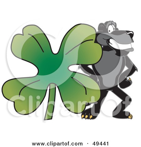Royalty-Free (RF) Clipart Illustration of a Black Jaguar Mascot Character With a Clover by Toons4Biz