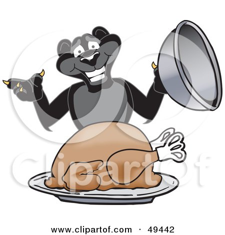 Royalty-Free (RF) Clipart Illustration of a Black Jaguar Mascot Character Serving a Turkey by Toons4Biz