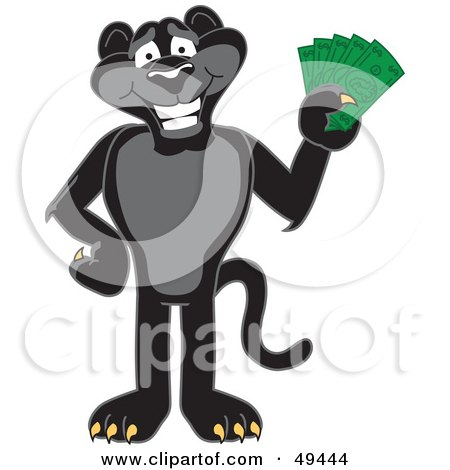 Royalty-Free (RF) Clipart Illustration of a Black Jaguar Mascot Character Holding Cash by Toons4Biz