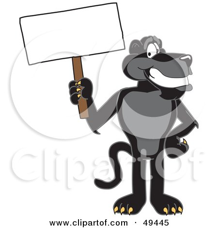 Royalty-Free (RF) Clipart Illustration of a Black Jaguar Mascot Character Holding a Blank Sign by Toons4Biz