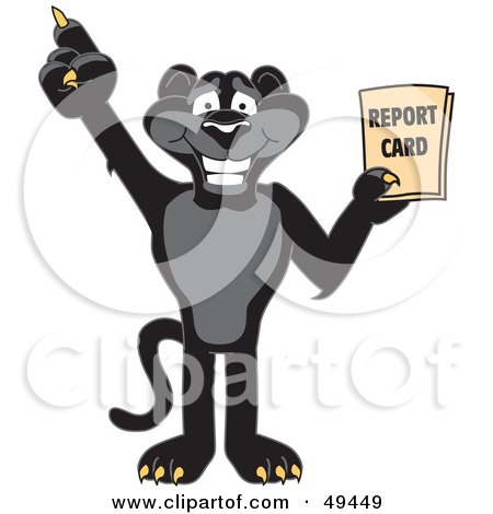 Royalty-Free (RF) Clipart Illustration of a Black Jaguar Mascot Character Holding a Report Card by Toons4Biz