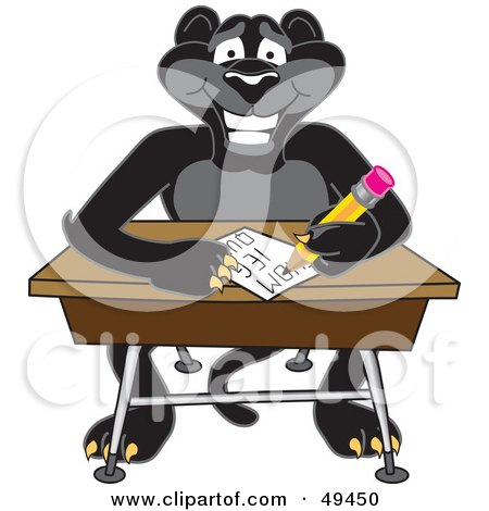 Royalty-Free (RF) Clipart Illustration of a Black Jaguar Mascot Character Taking a Quiz by Toons4Biz