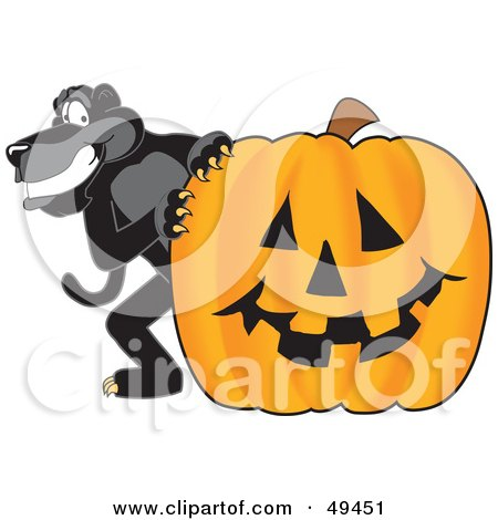 Royalty-Free (RF) Clipart Illustration of a Black Jaguar Mascot Character With a Halloween Pumpkin by Toons4Biz