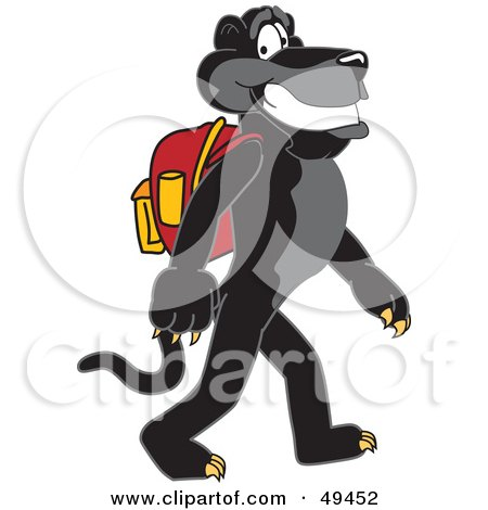 Royalty-Free (RF) Clipart Illustration of a Black Jaguar Mascot Character Walking to School by Toons4Biz