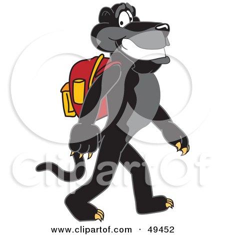 Cartoon Characters Walking To School. Black Jaguar Mascot Character