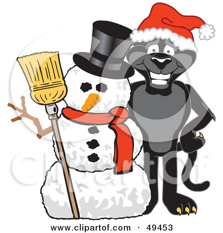 Royalty-Free (RF) Clipart Illustration of a Black Jaguar Mascot Character With a Snowman by Toons4Biz