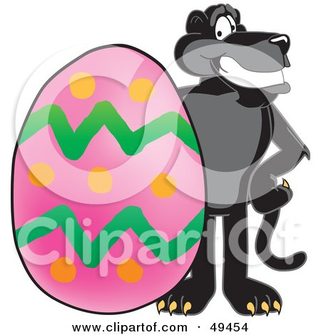 Royalty-Free (RF) Clipart Illustration of a Black Jaguar Mascot Character With an Easter Egg by Toons4Biz