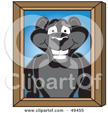 Royalty-Free (RF) Clipart Illustration of a Black Jaguar Mascot Character Portrait by Toons4Biz