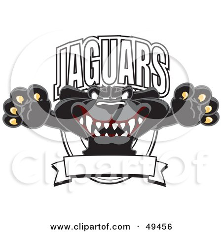 Royalty-Free (RF) Clipart Illustration of a Black Jaguar Mascot Character Leaping Logo by Toons4Biz