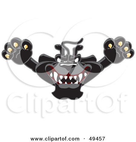 Royalty-Free (RF) Clipart Illustration of a Black Jaguar Mascot Character Leaping by Toons4Biz