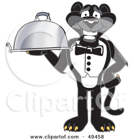 Royalty-Free (RF) Clipart Illustration of a Black Jaguar Mascot Character Serving a Platter by Toons4Biz