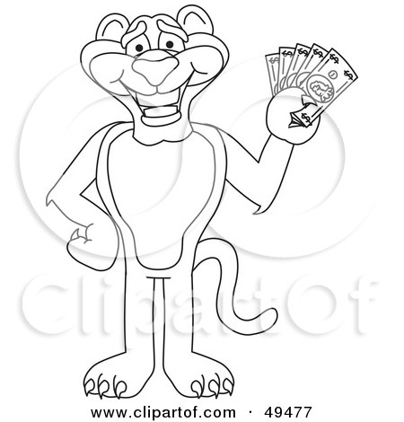 Royalty-Free (RF) Clipart Illustration of an Outline Of A Panther Character Mascot Holding Cash by Toons4Biz