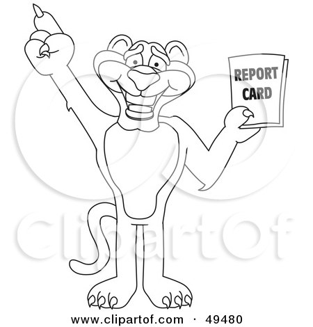 Royalty-Free (RF) Clipart Illustration of an Outline Of A Panther Character Mascot Holding a Report Card by Toons4Biz